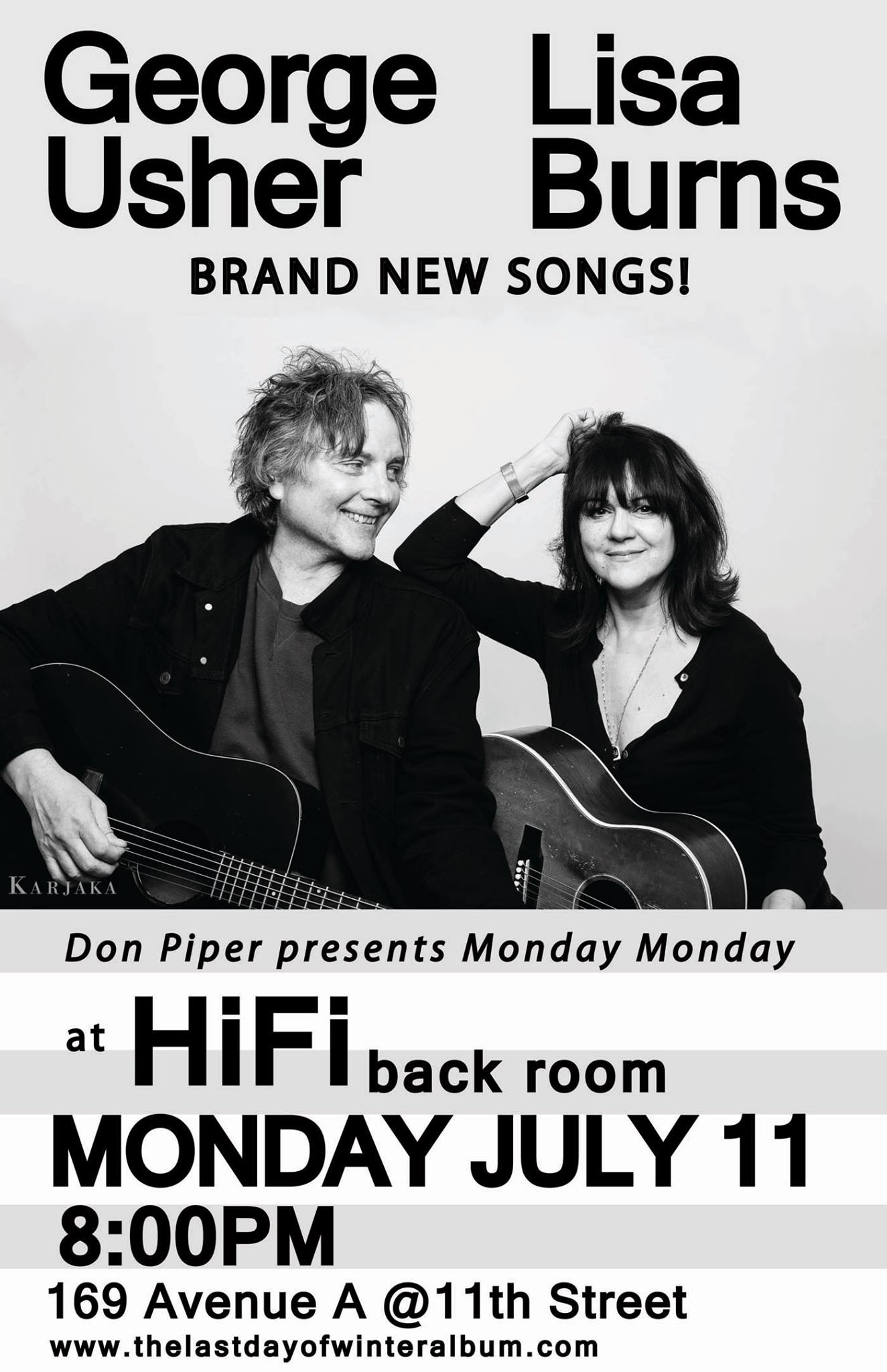 George Usher and Lisa Burns return to HiFi's Backroom stage for Don Piper's Monday Monday series at 8:00pm on July 11